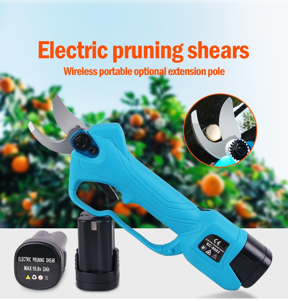 2000mAh Extension Rod Electric Pruning Shears Power Tools Vineyard Vines 2 battery Cordless Electric Scissors For Garden