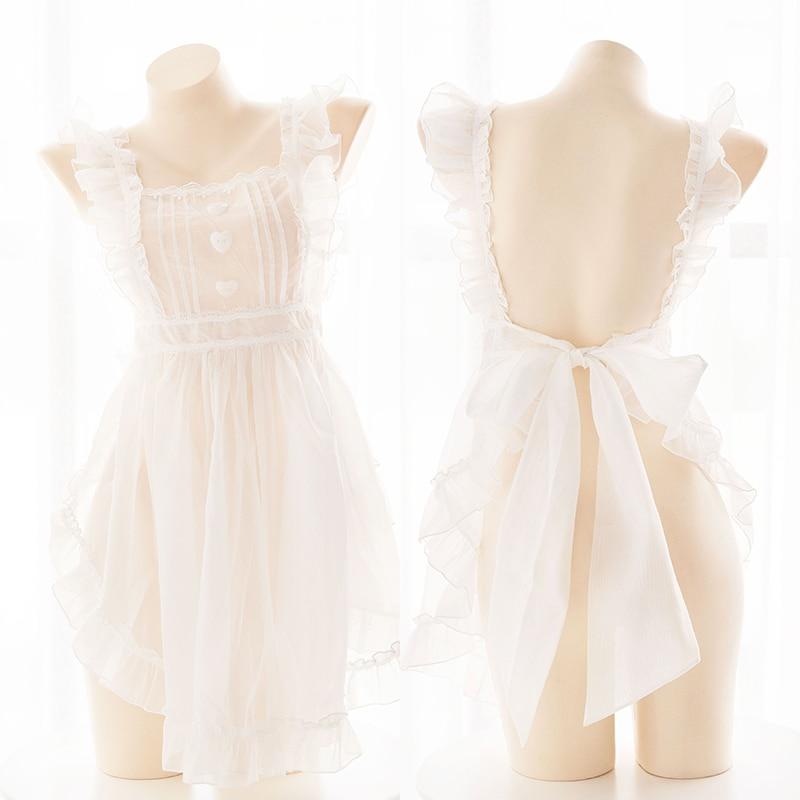 Sexy maid kawaii lolita menina transparente avental saia curta blusa branco bandagem grande arco nightdress feminino saia bolha roupa interior