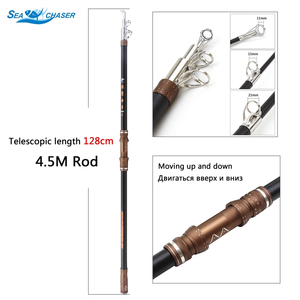Caña de pescar telescópica Extra larga de 3,9 M y 4,5 M, sistema de guía de metal grande, caña de mar de tiro largo, vara de carpa profesional Extra pesada
