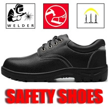 Safety working shoes  waterproof protection steel toe welder leather boots Indestructible industrial
