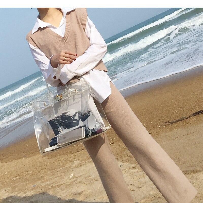 شاطئ شفاف البلاتين حقيبة 2021 الربيع/الصيف جديد الترفيه كل مباراة الإناث حقيبة الكتف قطري حقيبة يد جيلي صغير