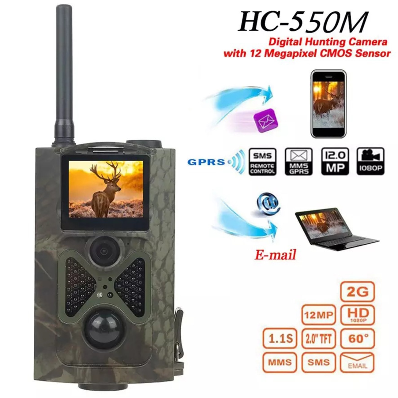 HC550M 2G كاميرا تعقب SMS MMS GSM GPRS 16MP 1080P ليلة كاميرا الصيد البصري اللاسلكية الخلوية موبايل صور الفخاخ المراقبة