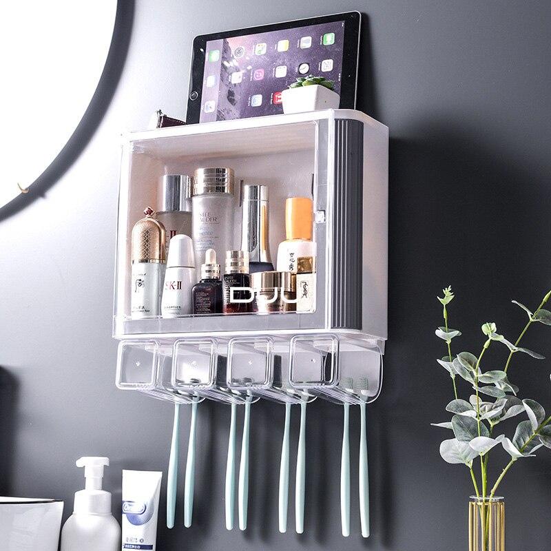 Bathroom Accessories organizer Set Toothbrush Holder Automatic Toothpaste Dispenser Holder Toothbrush Wall Mount Rack Tools Set enlarge