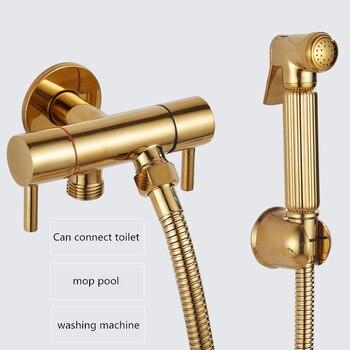 Gold Brass Handheld Bidet Sprayer Bathroom Toilet Bidet Valve Jet Set Shower Head Bath Shower Faucet