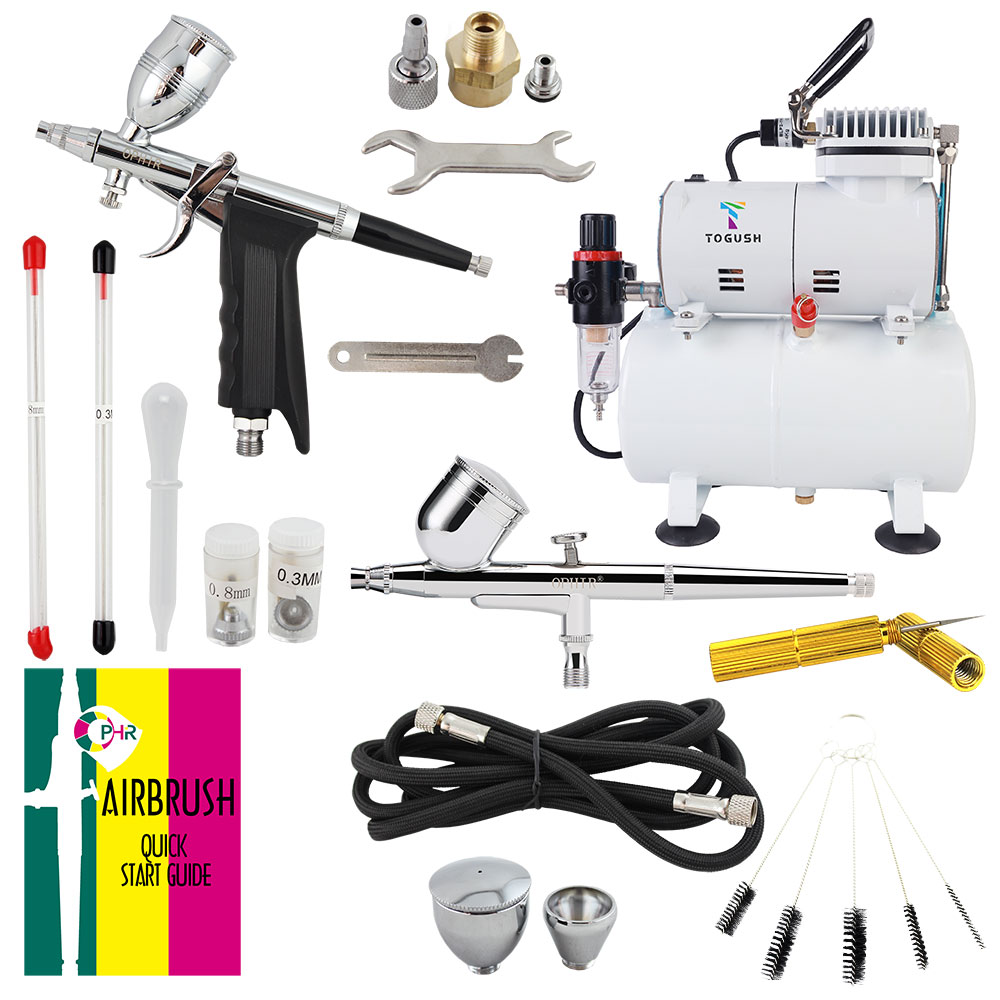 OPHIR 110V,220V Compressor with Tank & 2x Dual Action Airbrush Gun Kit & Cleaning Brush Needle for Hobby Model AC134+004A+069
