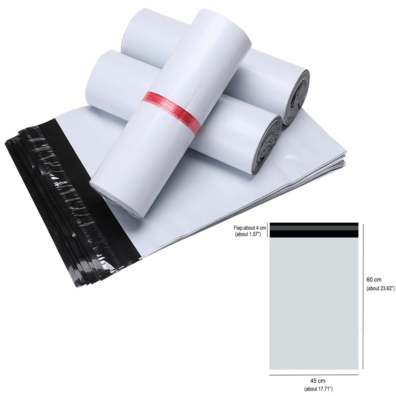 45X60cm Courier Bag 25/50/100pcs Self-seal Mailbag Plastic Poly Mailing Envelope Waterproof Postal Shipping Storage Bags White
