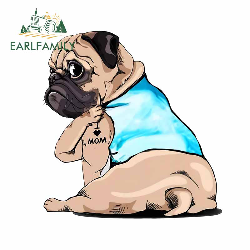 AliExpress - EARLFAMILY 13cm For Pug Dog Funny Car Stickers Waterproof Decal Car Accessories Motorcycle Decals Sunscreen For JDM SUV RV