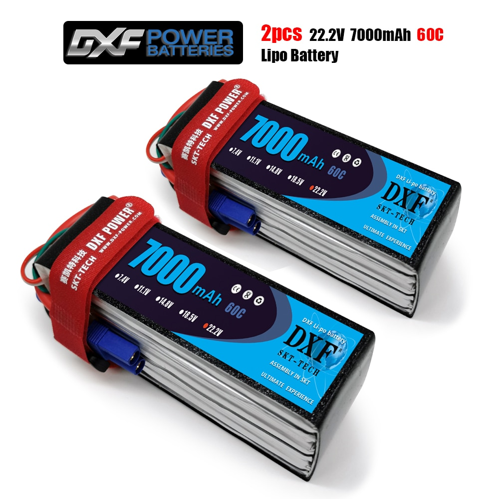 2PCS DXF 6S Lipo Battery 22.2V 7000mAh 60C Max120C for RC Airplane Helicopter Quadrotor AKKU car truck boat drone