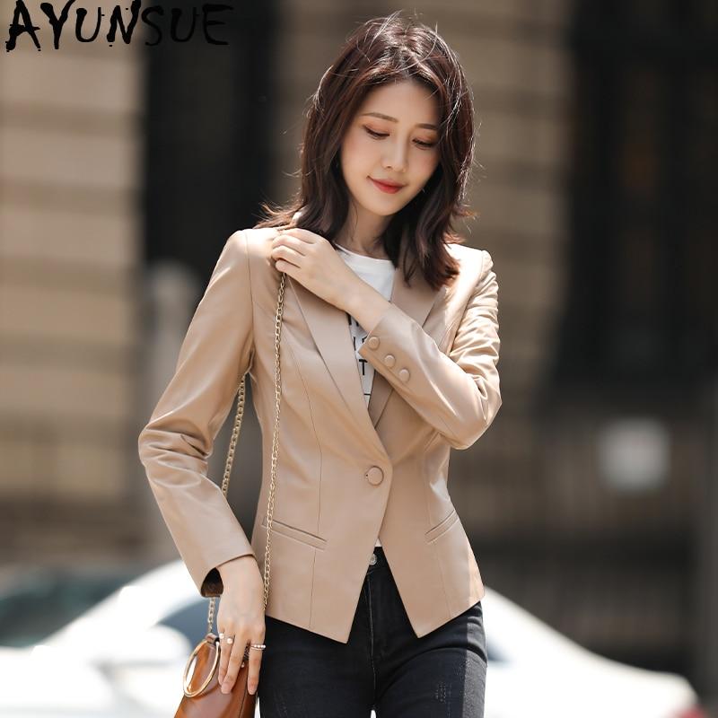 AYUNSUE, chaqueta de piel auténtica, chaqueta de otoño primavera 2020, abrigo de 100% para mujer, abrigo de pelo auténtico de oveja, ropa de calle femenina, cazadora MY3814