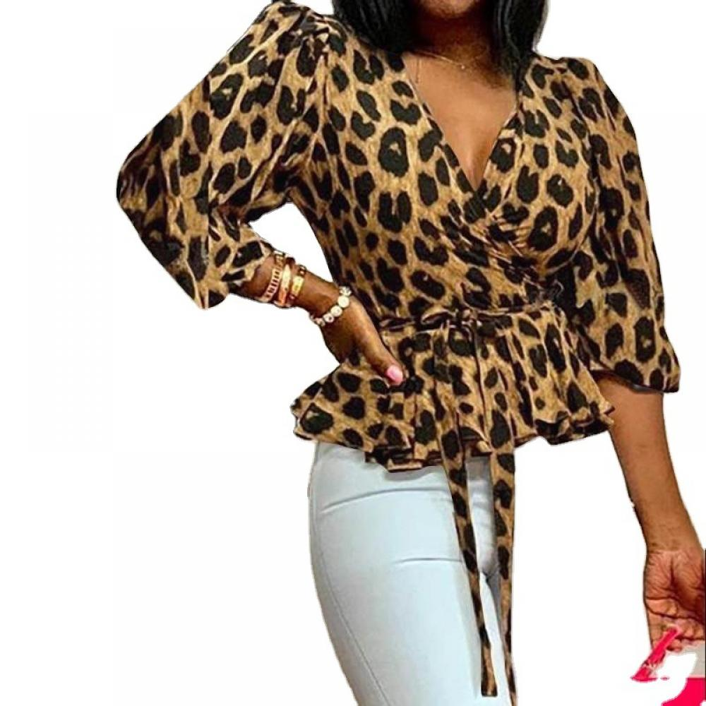 leopard print lace trim plus size tee Spring Plus Size Women's Leopard Print V-Neck Long-Sleeved Shirt Loose Lace Sexy Top