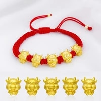 mascot five fortunes golden cow red string bracelet 2021 chinese ox new year bring wealth lucky good blessing bracelets