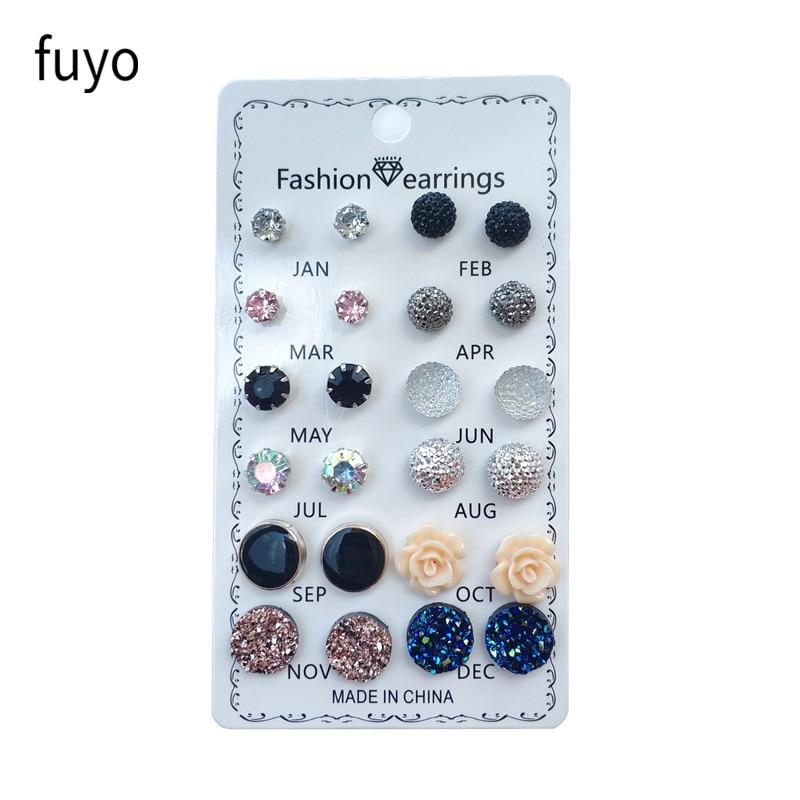 12 paar / set kristal mode oorbellen set vrouwen sieraden piercing - Mode-sieraden - Foto 2