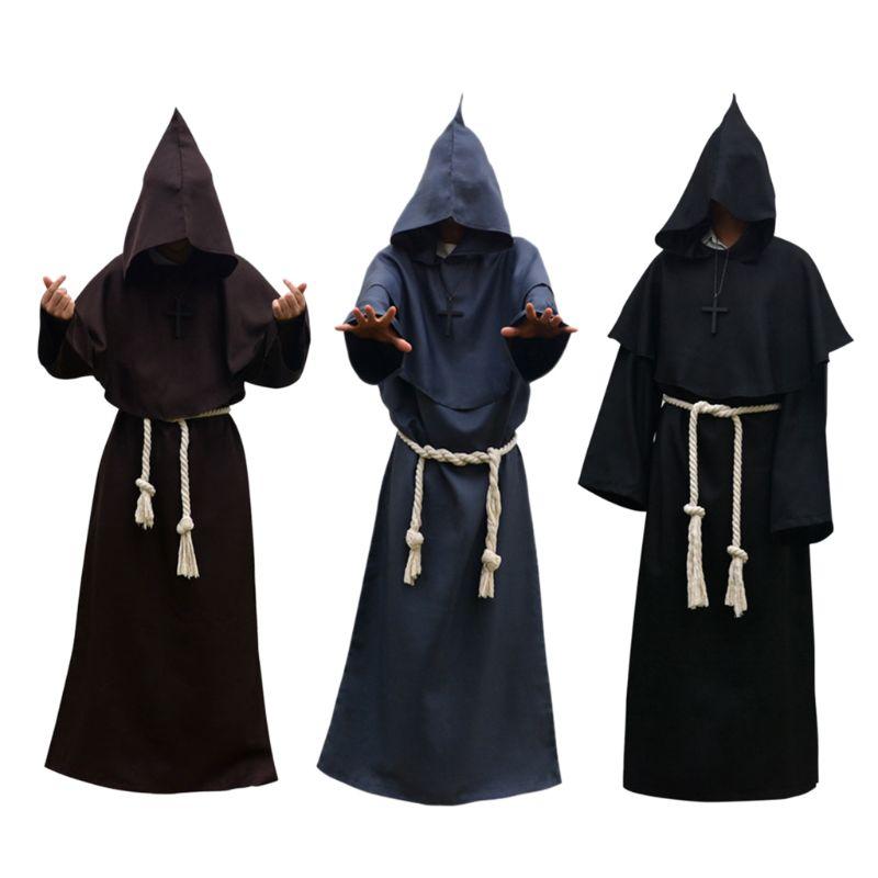 Unisex túnica de Halloween con capucha disfraz con capa Cosplay traje de monje adulto juego de roles Decoración Ropa