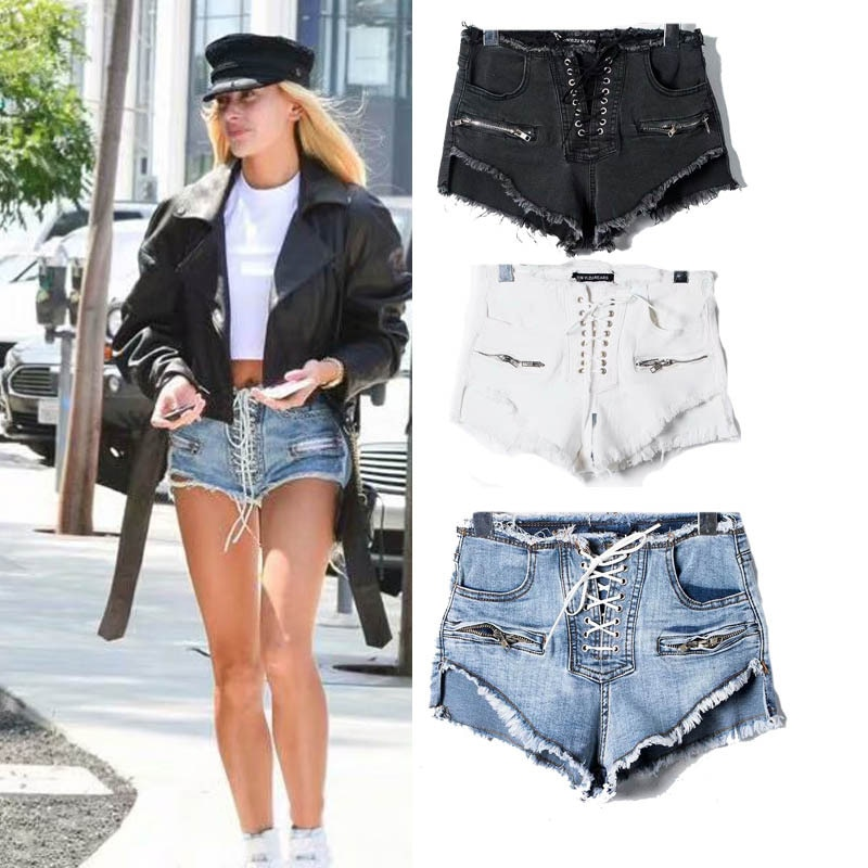 2021 Summer New Style European and American Style High Waist Lace-up Zipper Raw Edge Ripped Denim Shorts Women's Trend