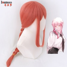Makima Wig Pink Braided Hair Anime Chainsaw Man Cosplay Synthetic Wig 70cm Long Braids Pink Braided