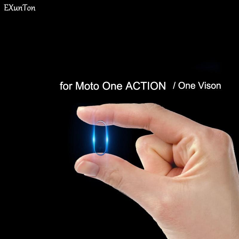 Capa completa lente da câmera de vidro temperado para moto uma ação volta câmera lente protetor de tela para motorola uma visão filme ação