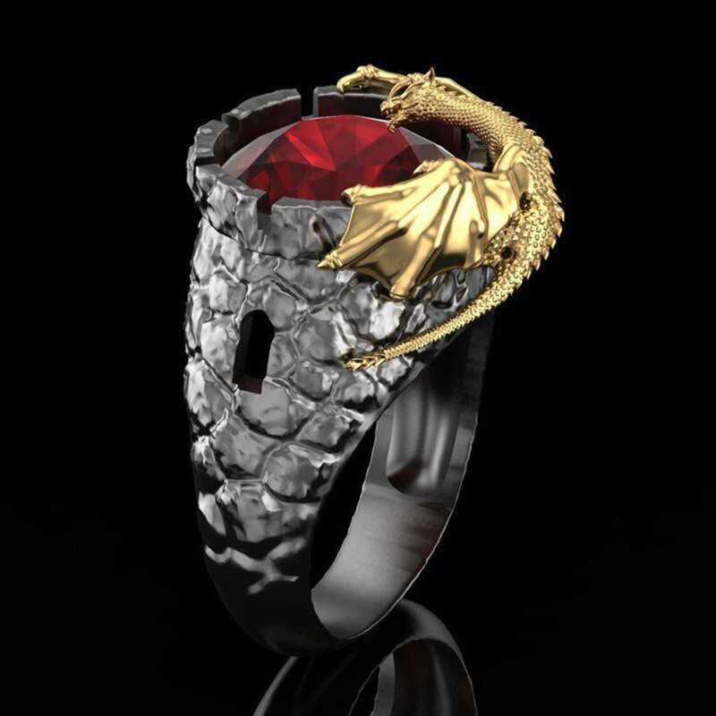 Anillo de piedra cristalina roja de Lava negra Vintage para hombre, anillo de ciclista de dragón Steampunk dorado para mujer, joyería única de Hip Hop 2020