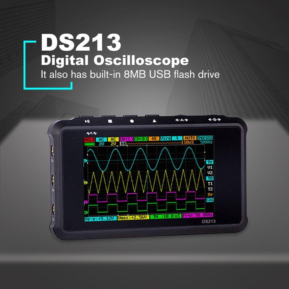 Ds213 osciloscópio digital portátil, osciloscópio digital de 4 canais e 15mhz de largura de banda para medidor de escopo dso scomoda