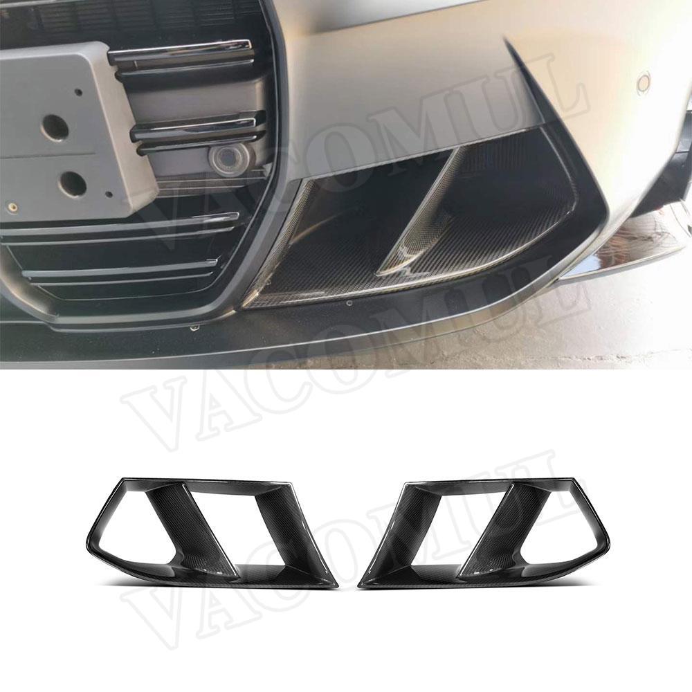 2 قطعة ألياف الكربون الجافة الجبهة الوفير غطاء فتحة التهوية التشذيب لسيارات BMW 3 سلسلة 4 سلسلة G80 G82 G83 M3 M4 2021 إطار شبكة شواء الضباب
