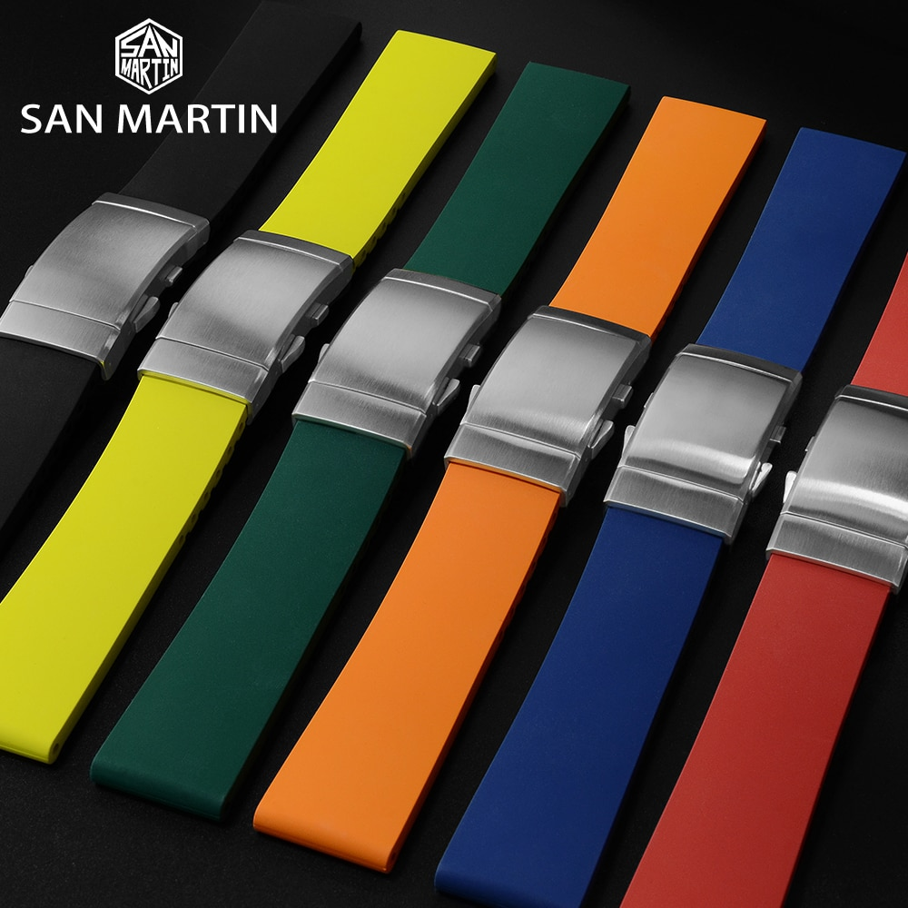 San Martin Watch Parts Waterproof Rubber Strap 20/22MM Universal Diving Watch Strap Multicolor Simple