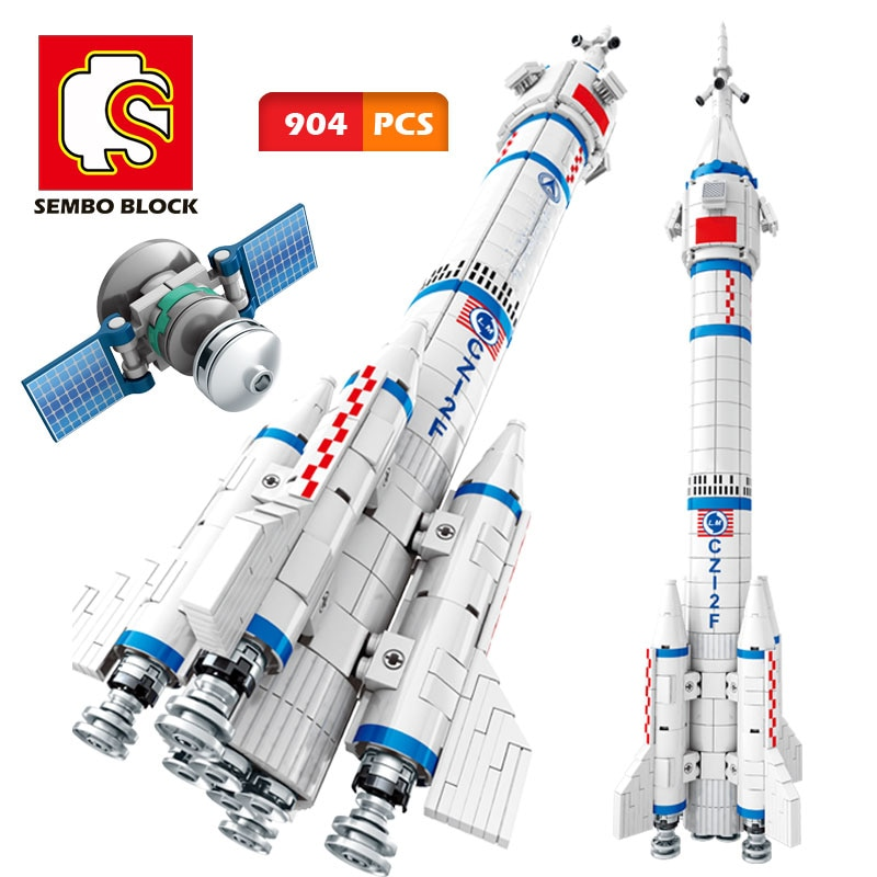 SEMBO CZ-2F الناقل صاروخ بنة الفضاء سفينة الفضاء التقنية نموذج اللعب الخالق الطوب رائد الفضاء الاطفال لعبة الصبي الهدايا