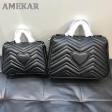 Classic double g wavy postman bag Marmont Love Chain Bag Mini Leather cross arm portable GG women's