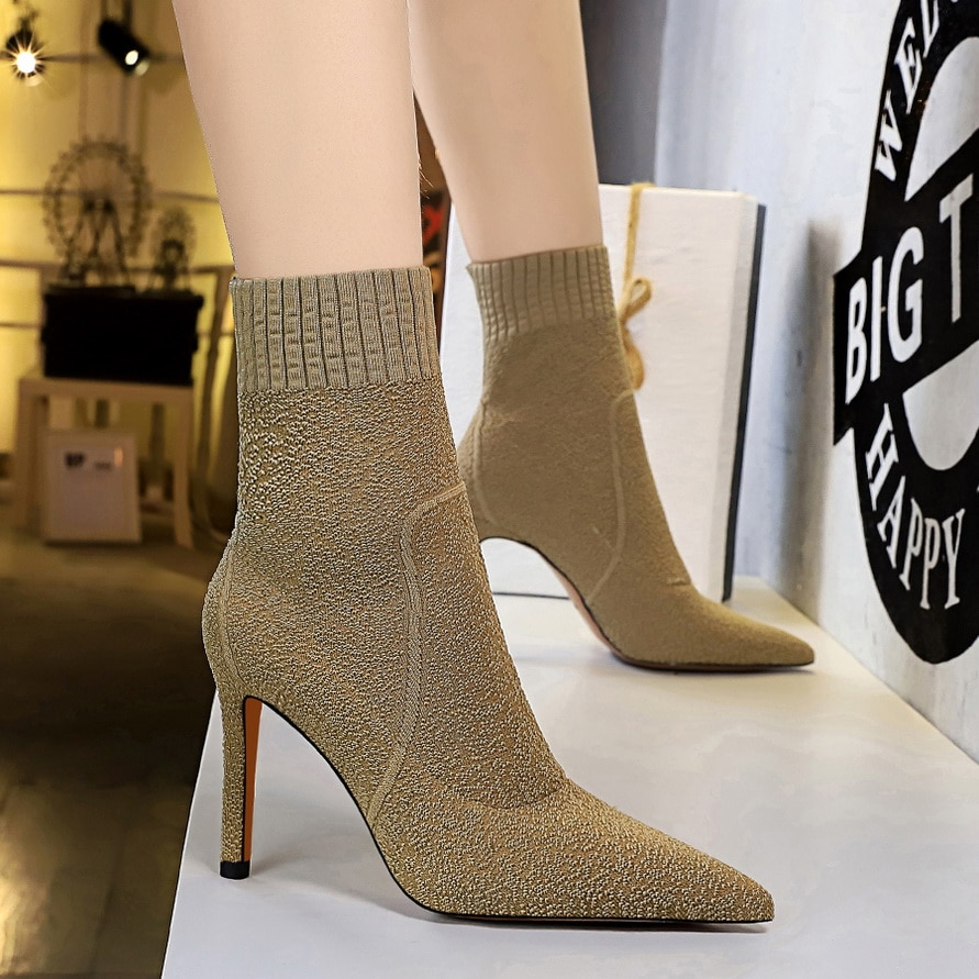 BIGTREE sock booties black winter boots for girls women boots super high heels nightclubs elastic luxury shoes women designers