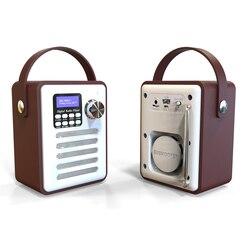 Rádio fm digital multi-funcional bluetooth alto-falante relógio de madeira punho de rádio portátil retro bluetooth alto-falante micro sd/tf