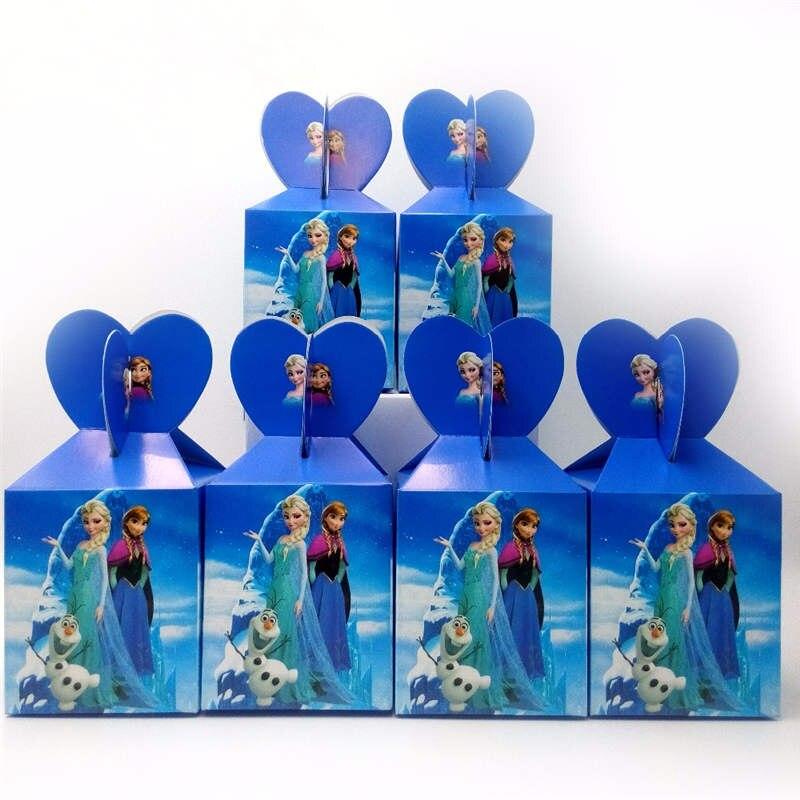 Boîtes à bonbons en papier thème des glaces   12 pièces, décoration de fête danniversaire pour filles, fournitures de coffrets cadeaux jetables princesse Anna Elsa