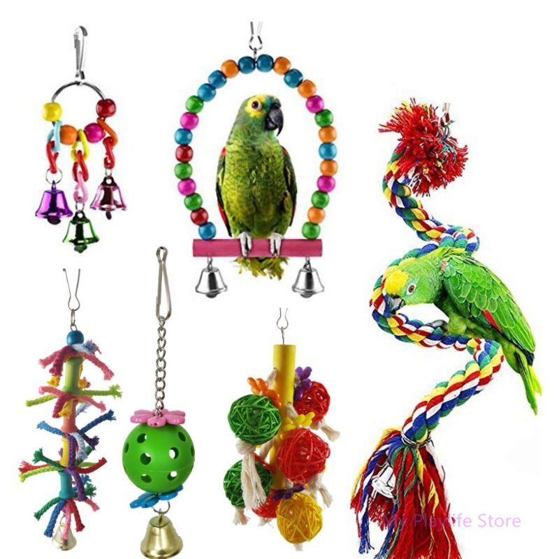 6 unids/set mascota pájaros loro columpio juguetes de loros masticar colgando Perches campanas juguetes pequeños periquitos jaula morder escalada cuerda juguete C42