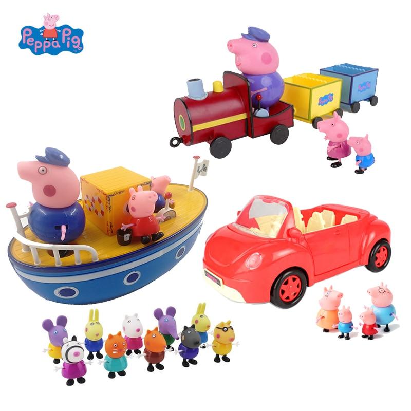Peppa Pig George Family Transportation Set Action Figure Toys Cartoon Car Train Pirate Ship For Kids PVC Christmas Birthday Gift
