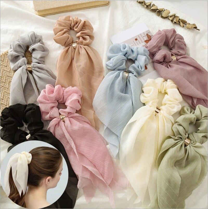 Verão chiffon sólida arco scrunchies feminino rabo de cavalo cachecol laços de cabelo elástico faixa de cabelo corda menina cabelo longo fita acessórios de cabelo