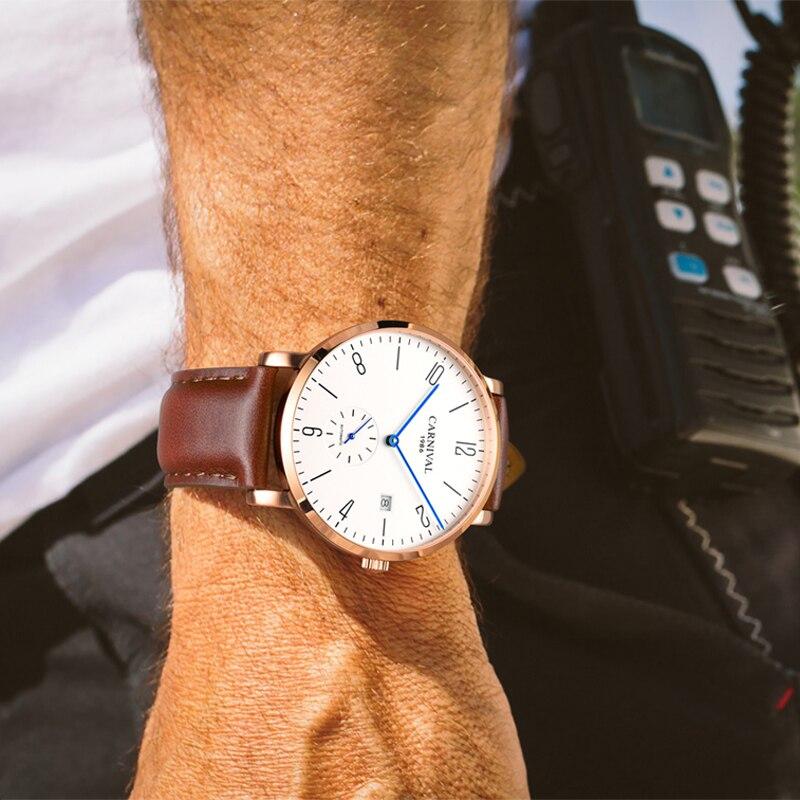 Carnival Brand Fashion Automatic Business Watch Man Luxury Calendar Mechanical Watches Ultra Thin Waterproof Relogio Masculino enlarge