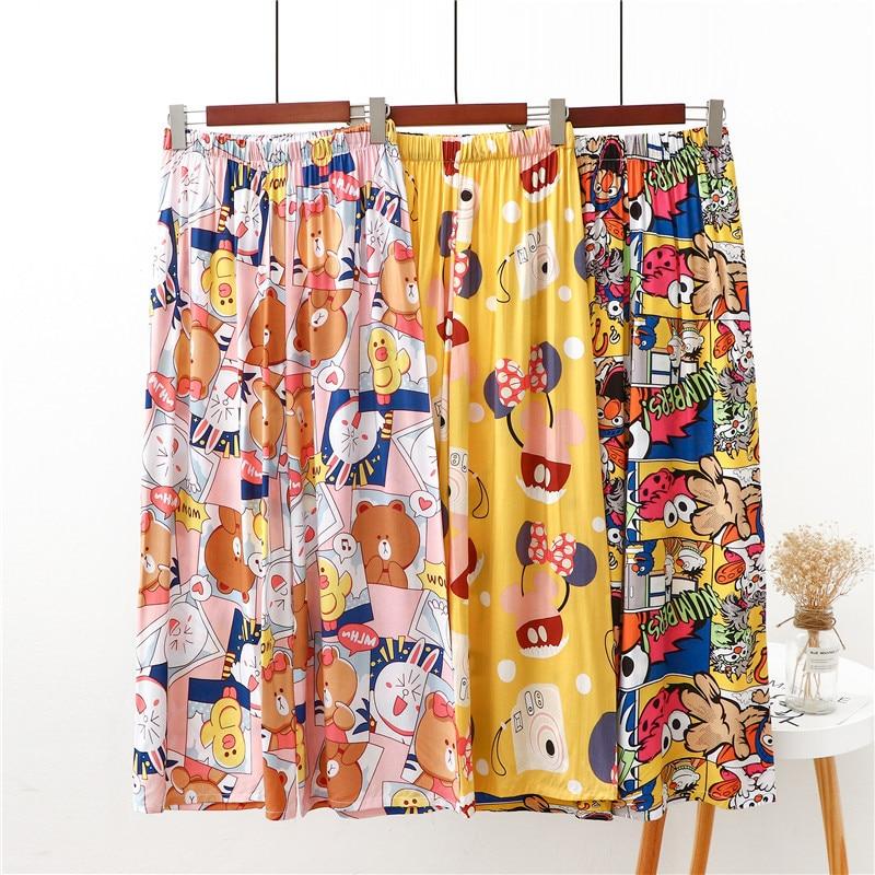 Spring Cartoon Cotton Pajama Pants Women Loose Cute Plus Size Ladies Sweet Comfortable Home Clothing
