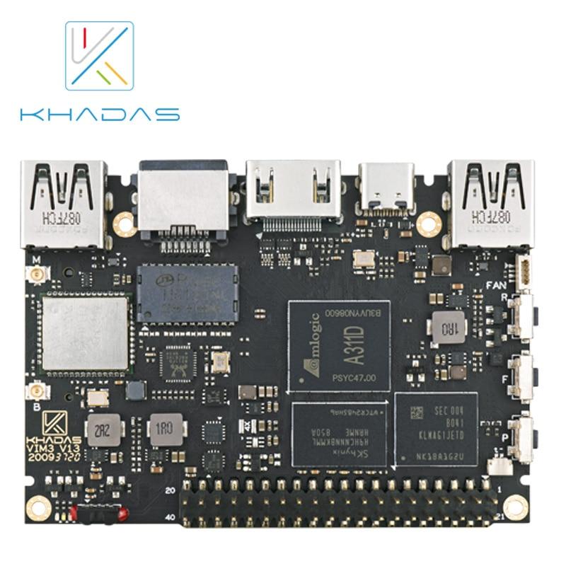 khadas vim1 basic mother board only 2g 8g Одноплатный компьютер Amlogic A311D, 5,0 топов, NPU AI tensorflow x4 Cortex-A73 x2 A53, Khadas VIM3 Basic SBC