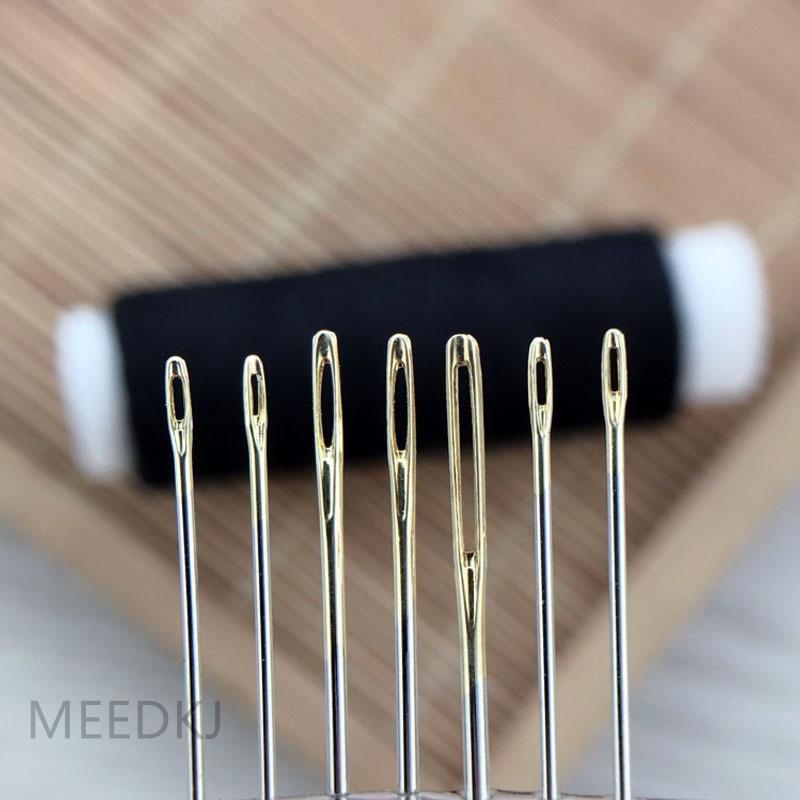 30 unidades por Juego de 3 colores, agujas para coser a mano de cuero, bordado de aguja de ojo dorado, tapicería de lana para hogar, accesorios de costura DIY para montar en disco