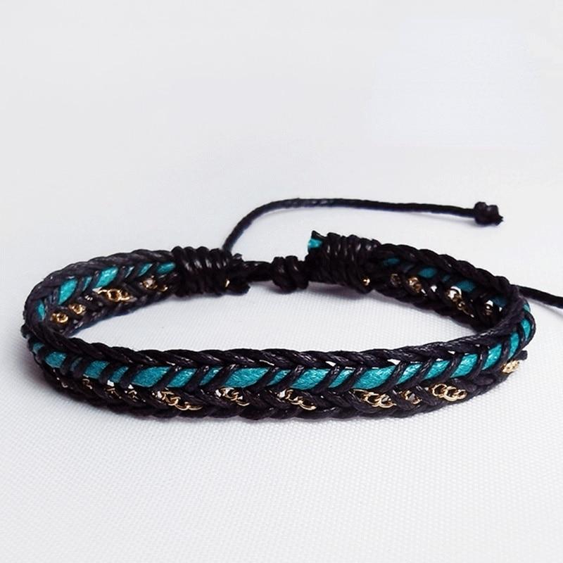 QiLuxy Vintage Braided Wrap Bracelets For Women Man Fashion Casual Handmade Metal Chain Woven Male W
