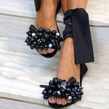 Sandals Women Flat Sandals Ankle Strap Beaded Special Women's Shoes Beach Sandals Plus Size 35-43