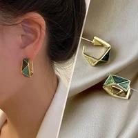 hot sale high grade green drop glaze geometric dangle earrings for woman korean fashion jewelry party girls unusual earrings
