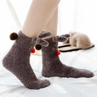 fuzzy socks warm plush bedroom non slip grip kawaii cute funny womens slippers floor sock women winter female shoes bear elk