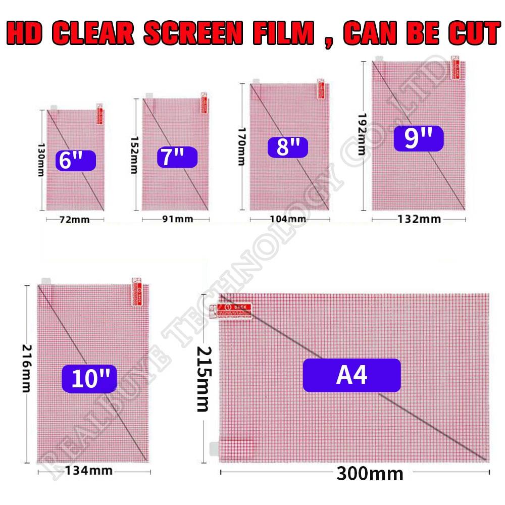 2pcs/lot HD Clear Soft Tablet PC Screen Protector For Universal 5 6 7 8 9 10 11 12 inch A4 Car GPS G