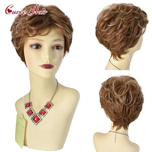 Brown Blonde Color Short Water Wave Hairstyle Resistant  Wigs For Women Synthetic Hair High Temperature Fiber Average Size