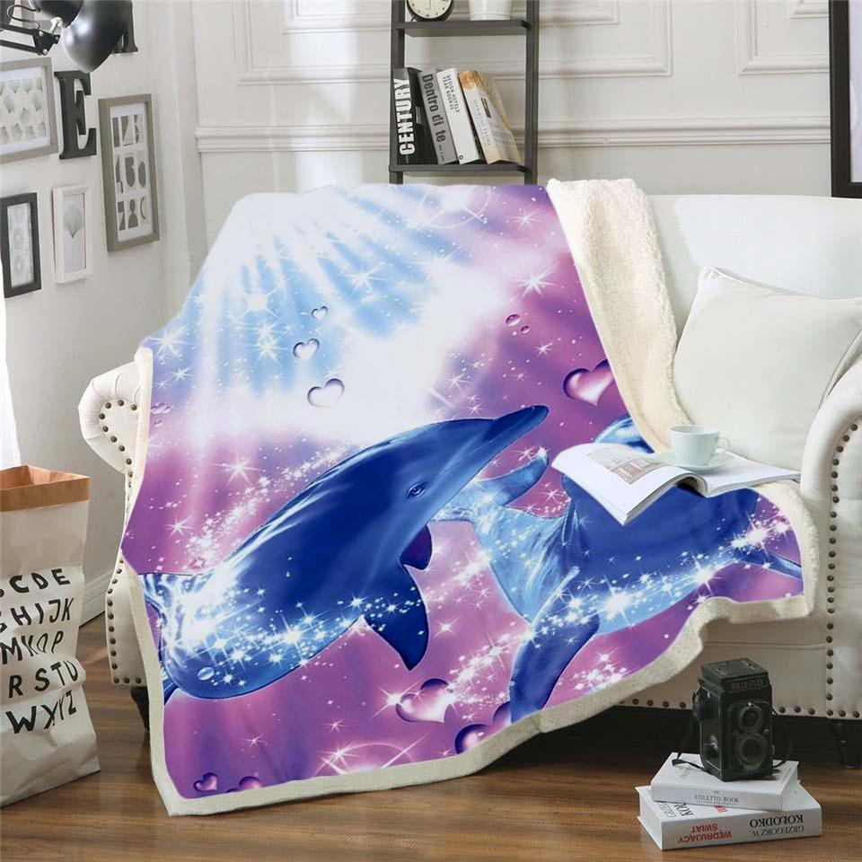 Manta de Sherpa estampada 3D con bonito Delfín, funda de edredón para sofá, ropa de cama de viaje, manta de felpa de terciopelo, colcha de forro polar