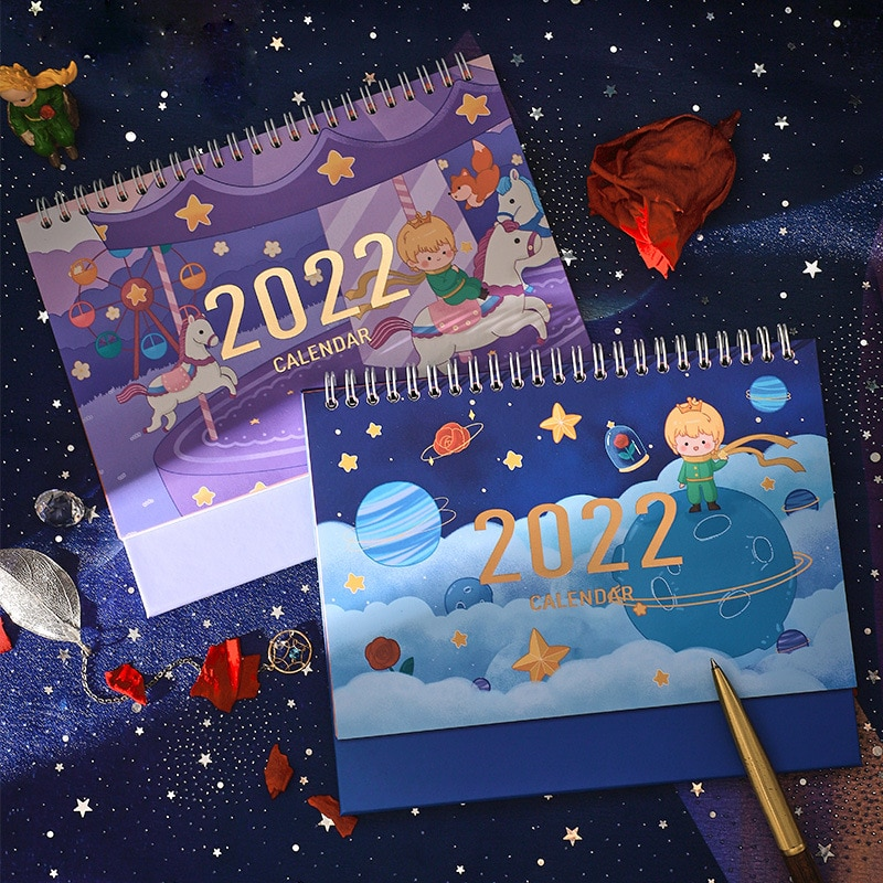 2022 Kawaii милый календарь планеты принца с наклейкой спираль расписание креативный настольный стол Дата напоминание расписание планировщик ...