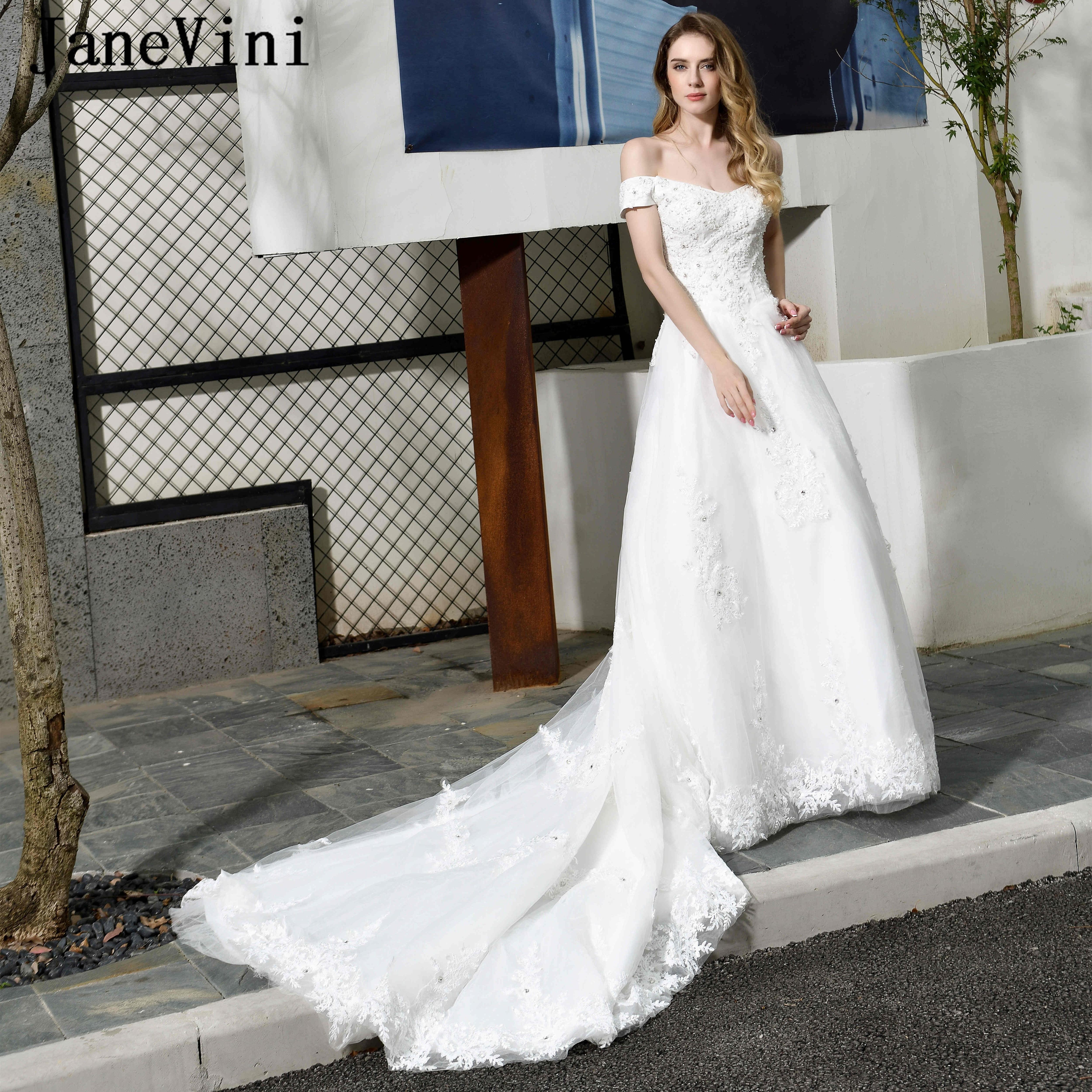 JaneVini de lujo Dubai blanco mujeres Vestido de Novia sin hombro apliques...