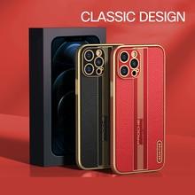 Luxury Designed Genuine Leather Case For Apple iPhone 12 Pro Max Mini Cover Case Shockproof Fundas C