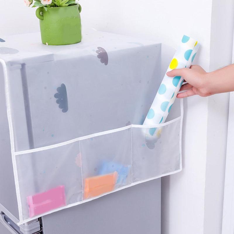 Cubierta de lavadora, cubierta de polvo de nevera con bolsillo, impermeable, lavadora, nevera, funda polvo almacenamiento organizador