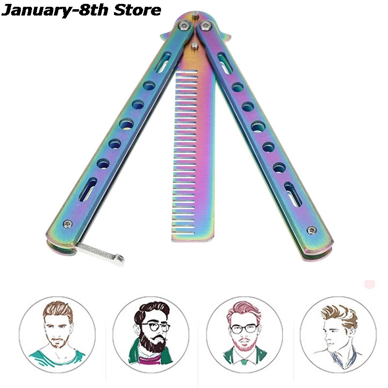 training salon stainless steel butterfly comb sling knife safety training knife novice blade practice comb for novices 1pc Foldable Comb Stainless Steel Practice Training Butterfly Knife Comb Beard & Moustache Brushes Hairdressing Styling Tool