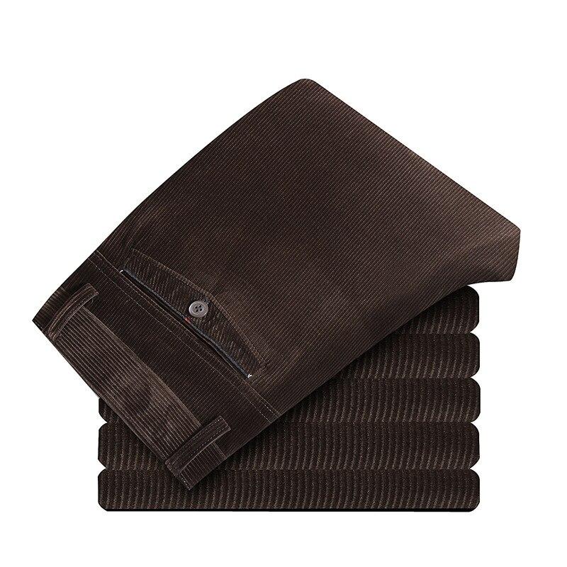 Мужские прямые брюки на осень и зиму, деловые повседневные длинные брюки, мужские вельветовые брюки с высокой талией, плотные брюки для мужч...