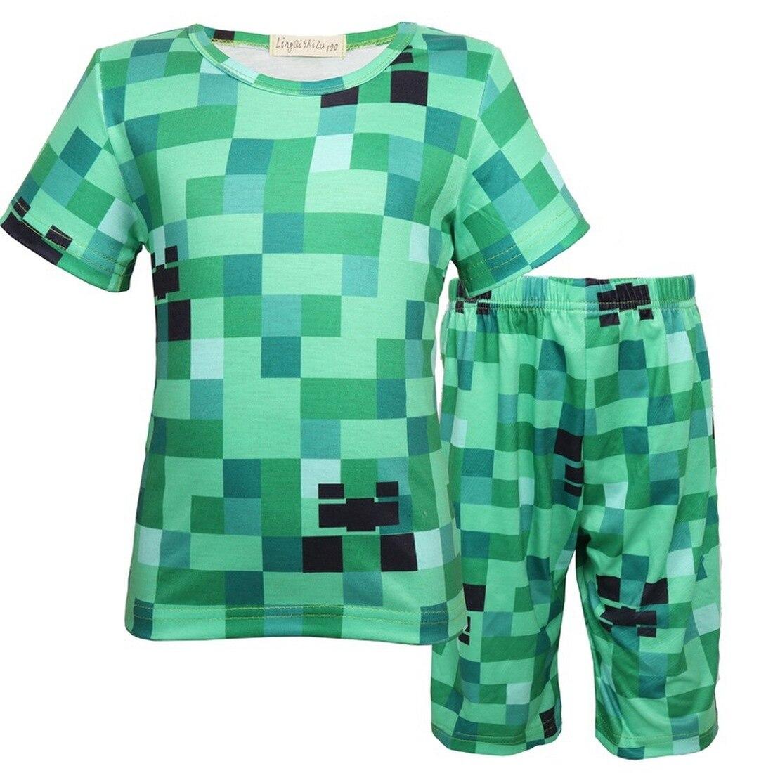 Minecrafting, pijamas para chicos, nuevos pijamas de dibujos animados de verano, conjunto de ropa de niñas, ropa de niños, ropa de hogar Casual, trajes de dormir